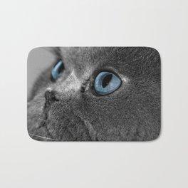 Grey Persian Cat with Blue Eyes Bath Mat