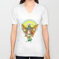 hindu V-neck T-shirts featuring Hindu Universe by MARICAMA
