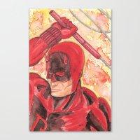 daredevil Canvas Prints featuring Daredevil by Kirsten L George