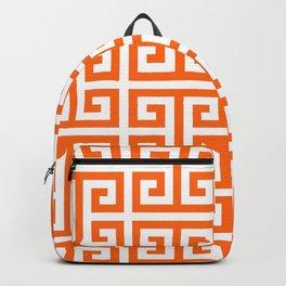 Orange and White Greek Key Pattern Backpack