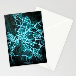 Mannheim, Germany, Blue, White, Neon, Glow, City, Map Stationery Cards