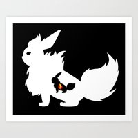 Fire Stone White Art Print
