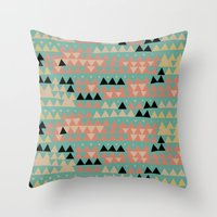 triangles Throw Pillows featuring triangles by spinL