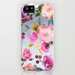 Hand painted pink violet gray watercolor floral iPhone Case