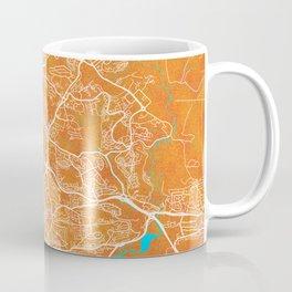 Plymouth, England, Gold, Blue, City, Map Coffee Mug