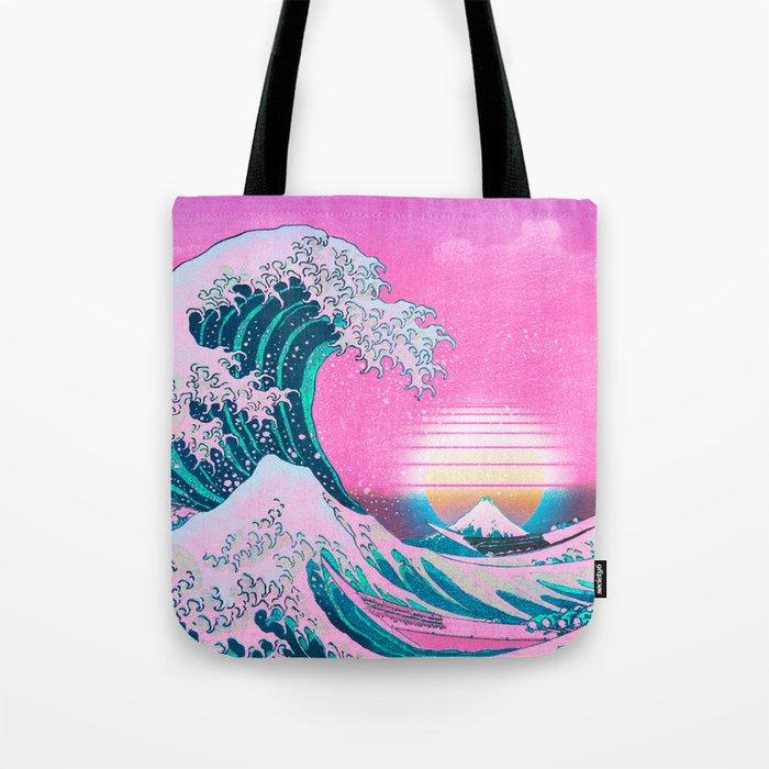 Vaporwave Aesthetic Great Wave Off Kanagawa Sunset Tote Bag