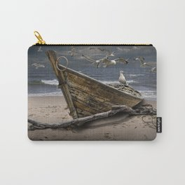 Gulls Flying over a Shipwrecked Wooden Boat Carry-All Pouch