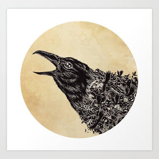 CROW-ded Art Print