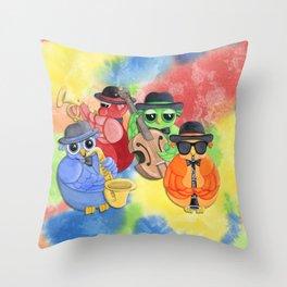 Jazz Owls Throw Pillow