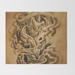 Hannya Dragon Throw Blanket