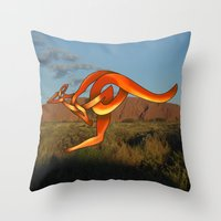 kangaroo Throw Pillows featuring Kangaroo by Knot Your World