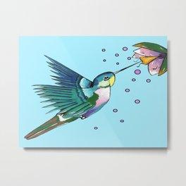 Hummingbird Blue Metal Print