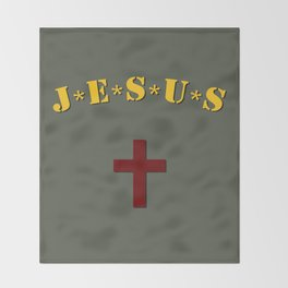 J*E*S*U*S logo inspired on M*A*S*H logo Throw Blanket