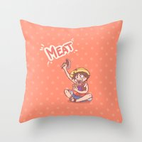 meat Throw Pillows featuring MEAT! by Kessi