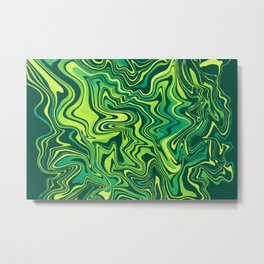 Green Lime Marbled Agate Metal Print