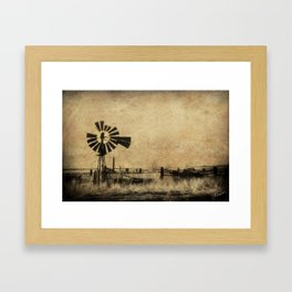 Old Windmill • Sepia • Western • Infrared • Texture Framed Art Print