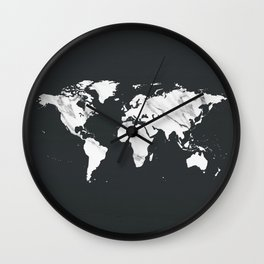 Marble World Map in Black and White Wall Clock