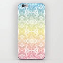 Color Gradient Floral Doodle Pattern iPhone Skin