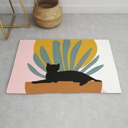 Geometric Art, Cute, Cat and Sun, Mid Century Art Rug
