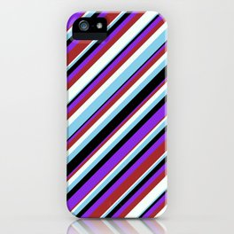 Vibrant Sky Blue, Black, Purple, Brown, and Mint Cream Colored Lines/Stripes Pattern iPhone Case
