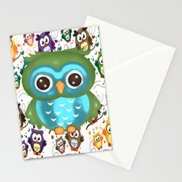 CUTE PLAYFUL OWL Stationery Cards