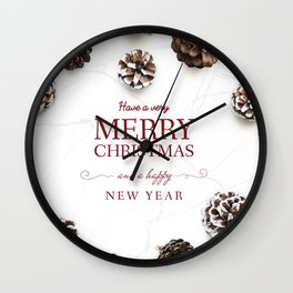 Merry Christmas Modern Holiday Greeting White Wall Clock