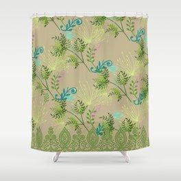 Botanical with Henna Border Shower Curtain