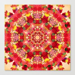Vintage Flowers In The Round Canvas Print