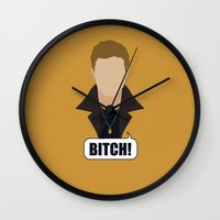 dean winchester Wall Clocks featuring 1 Dean Winchester by Alice Wieckowska
