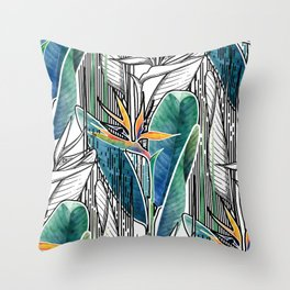 Combined strelitzia pattern Throw Pillow