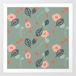 Floral & Leaves Pattern Art Print