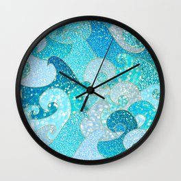 Mermaid Waves And Sea Faux Glitter- Sun Light Over The Ocean Wall Clock