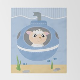 Mobil series submarine sheep Throw Blanket