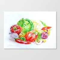 vegetables Canvas Prints featuring Vegetables by LiliyaChernaya