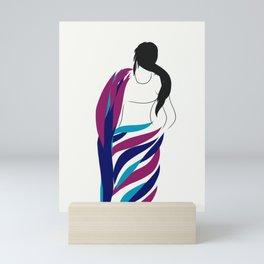 Indian Woman in Saree - Minimalist doodles Art Mini Art Print