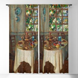 Evening interior dinning room / kitchen light and shadows portrait painting by Stanislav Zhukovsky Blackout Curtain