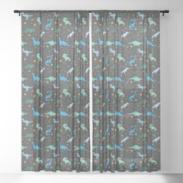 Dinosaurs in Space in Blue Sheer Curtain