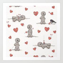 Broken hearted Voodoo Dolls Art Print