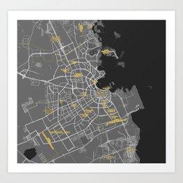 Minimalist Modern Map of Doha, Qatar 6 Art Print