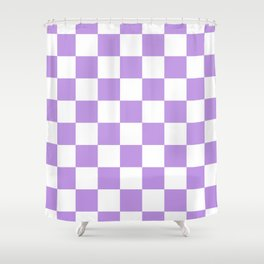 Checkered - White and Light Violet Shower Curtain
