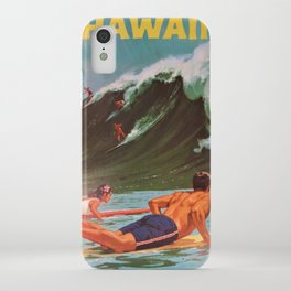1964 Vintage Hawaii Surfing Poster by Chas Allen iPhone Case