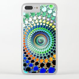Fractal Spiral Trippy Art Print Clear iPhone Case