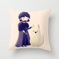 thrones Throw Pillows featuring Night Gathers by Nan Lawson