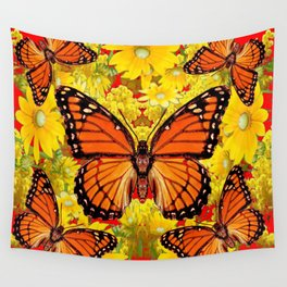 VICEROY BUTTERFLIES & YELLOW FLOWERS RED ART Wall Tapestry