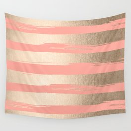 Painted Stripes Tahitian Gold on Coral Pink Wall Tapestry