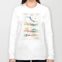 blackhawks Long Sleeve T-shirts featuring Ice Skate Patent - Sharon Cummings by Sharon Cummings