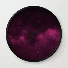 Fascinating view of the pink cosmic sky Wall Clock