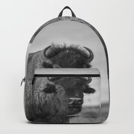 Buffalo Stance - Bison Portrait in Black and White Backpack