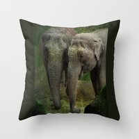 elephants Throw Pillows featuring Elephants  by Guna Andersone & Mario Raats - G&M Studi