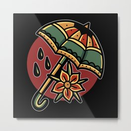 Umbrella with flower tattoo style gifts Metal Print